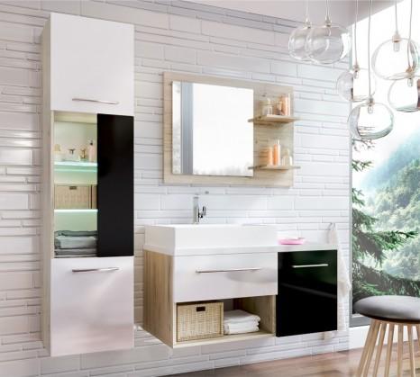 Koupelny ZLEVNĚNO Milano - Koupelnová sestava (černá/bílá,boky sv.dub st.tropez)