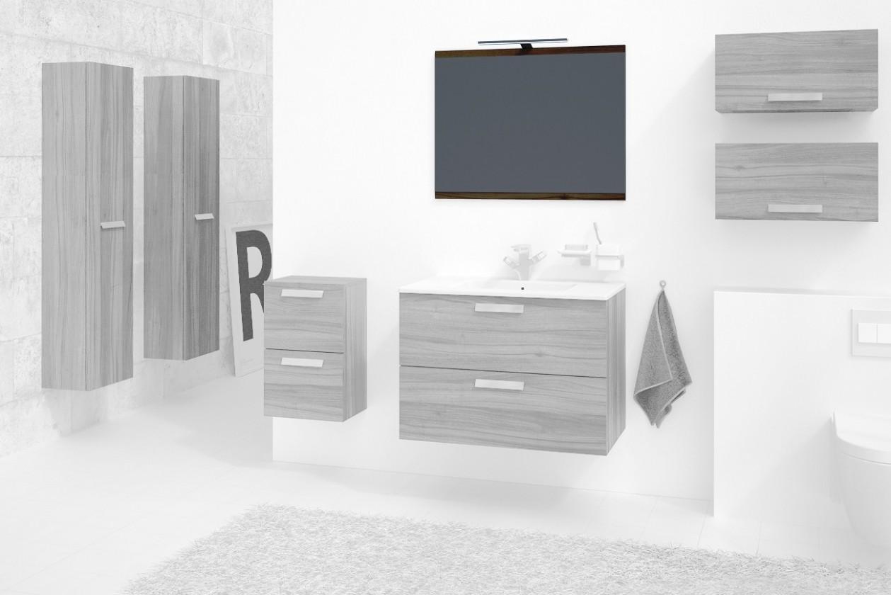 Koupelny ZLEVNĚNO Montpellier - Zrcadlo 80 cm (ořech)