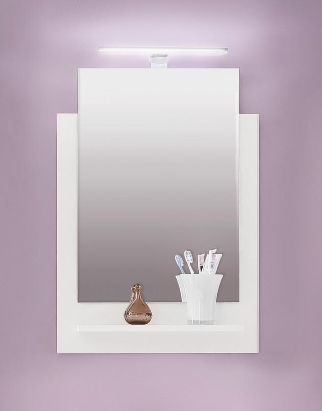 Koupelny ZLEVNĚNO TTB - Zrcadlový panel s poličkou a osvětlením (bílá, zrcadlo)