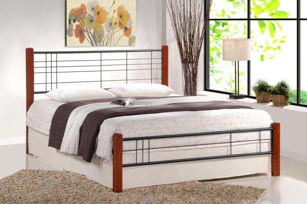 Kovová Kovová postel Vera 160x200 cm, třešeň, černá