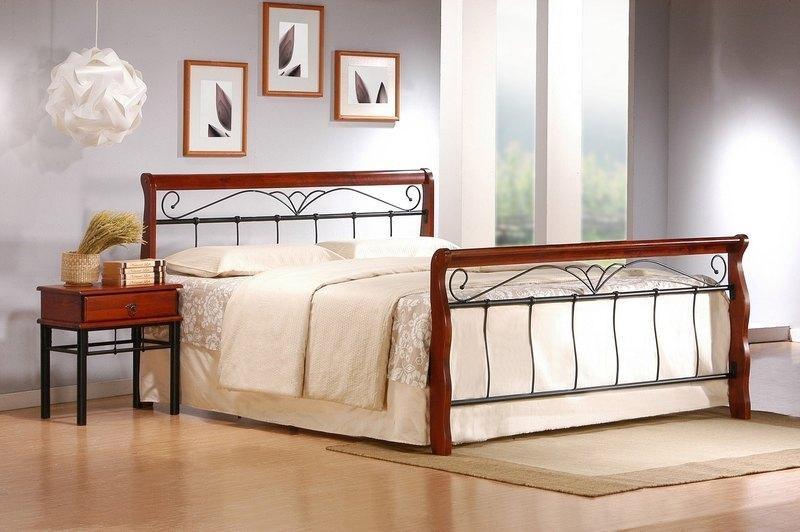 Kovová Kovová postel Verona 160x200, třešeň, černá,vč.roštu,bez matrace