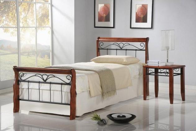 Kovová Kovová postel Verona 90x200, třešeň, černá, vč.roštu,bez matrace
