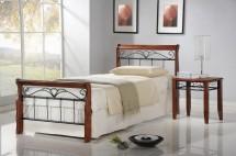 Kovová postel Verona 90x200 cm, třešeň, černá