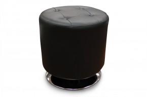 Kožený taburet Dora kruh černá