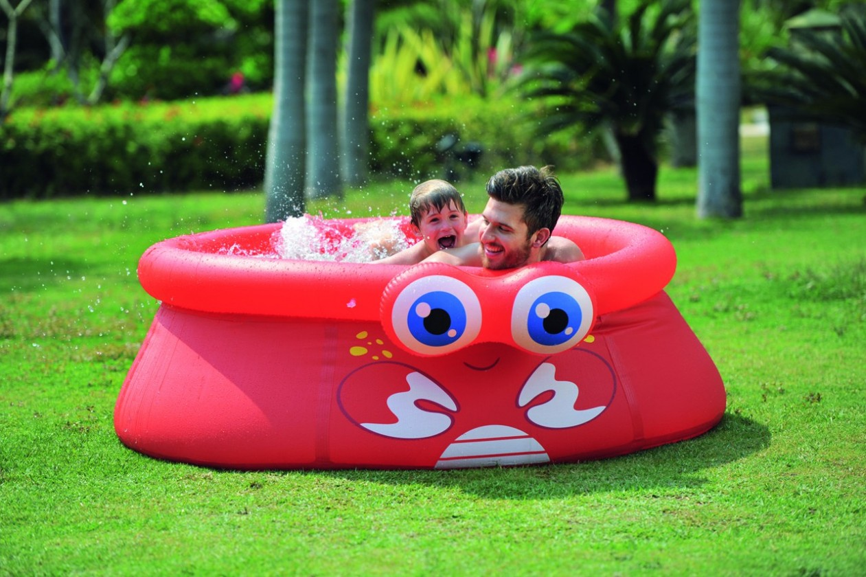 Krab - Dětský nafukovací bazén, 175x62 cm  (červená)