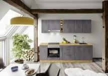 Kuchyně Birgit 270 cm (tmavý beton, dub)