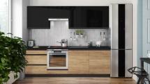 Kuchyně Brick 240 cm (černá vysoký lesk/dub)