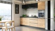 Kuchyně Brick - 260 cm (černá vysoký lesk/craft) - II. jakost