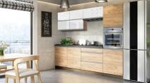 Kuchyně Brick light 260 cm (bílá lesk/craft)
