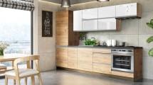 Kuchyně Brick light 280 cm (bílá lesk/craft) - II. jakost