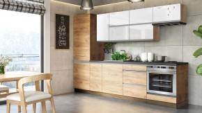Kuchyně Brick light 280 cm (bílá lesk/craft)