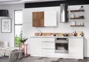 Kuchyně Elza - 240 cm (bílá vysoký lesk/akácie)
