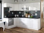 Kuchyně Emilia levý roh 250x150 cm (bílá vysoký lesk/černá)