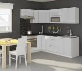 Kuchyně Emilia pravý roh 250x150 cm (bílá vysoký lesk/černá)