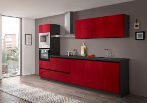 Kuchyně Eugenie 300 cm (červená, vysoký lesk, šedá, lak)