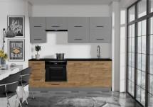 Kuchyně Felicita 220 cm (šedá, dub lefkas)