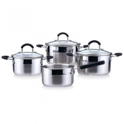 Kuchyně, jídelny Bravura - 7-mi dílná sada nádobí, nerezová (černá, stříbrná)