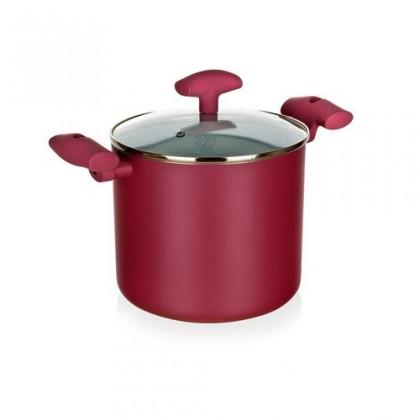 Kuchyně, jídelny Inspira - Hrnec, hliník, keramika,  21x18cm (červená, bílá)