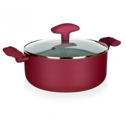 Kuchyně, jídelny Inspira - Kastrol, hliník, keramika, 28x12cm (červená, bílá)