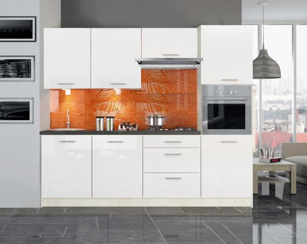 Kuchyně, jídelny Kuchyňská linka Emilia - 240cm (bílá lesk,PD travertin tmavý)