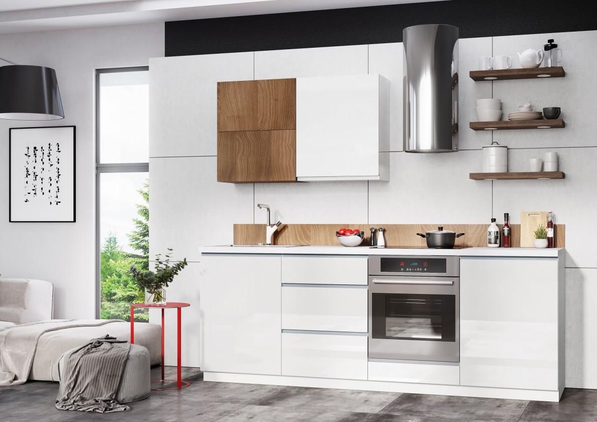 Kuchyně, jídelny Kuchyňský blok Elza - 240 cm (bílá/bílá lesk, akácie/PD  tesoro b