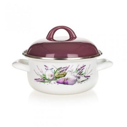 Kuchyně, jídelny Lavender - Smaltovaný kastrol, 16cm (bílá, fialová)