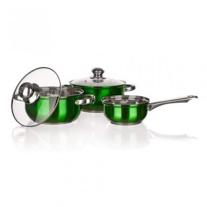 Kuchyně, jídelny Maestro Green - 5-ti dílná sada nádobí, nerezová (stříbrná)