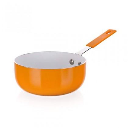 Kuchyně, jídelny Natura Ceramia - Mini rendlík, 14x6cm (oranžová, bílá)
