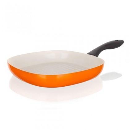 Kuchyně, jídelny Natura Ceramia - Pánev steak, 26cm (oranžová, bílá)