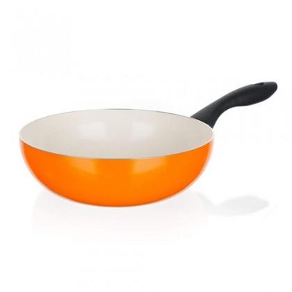 Kuchyně, jídelny Natura Ceramia - Pánev WOK, 24cm (oranžová, bílá)