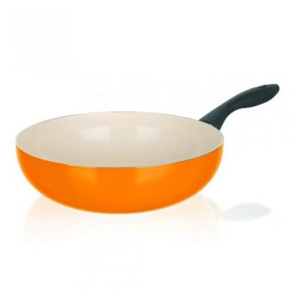 Kuchyně, jídelny Natura Ceramia - Pánev WOK, 28cm (oranžová, bílá)