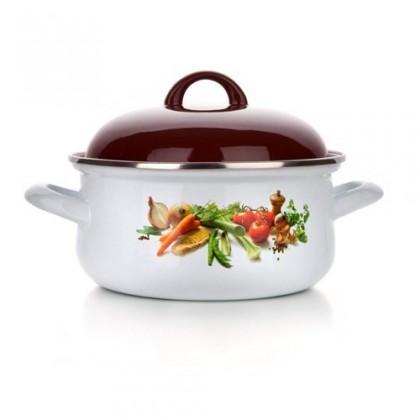 Kuchyně, jídelny Zelenina - Smaltovaný kastrol, 22cm (bílá, hnědá)