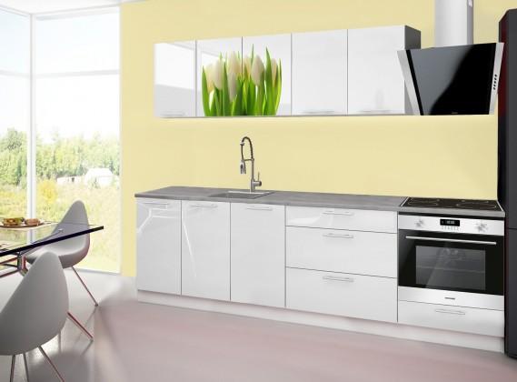 Kuchyně, jídelny ZLEVNĚNO Emilia 2 - Kuchyňský blok A, 260cm (bílá, titan, tulipány)