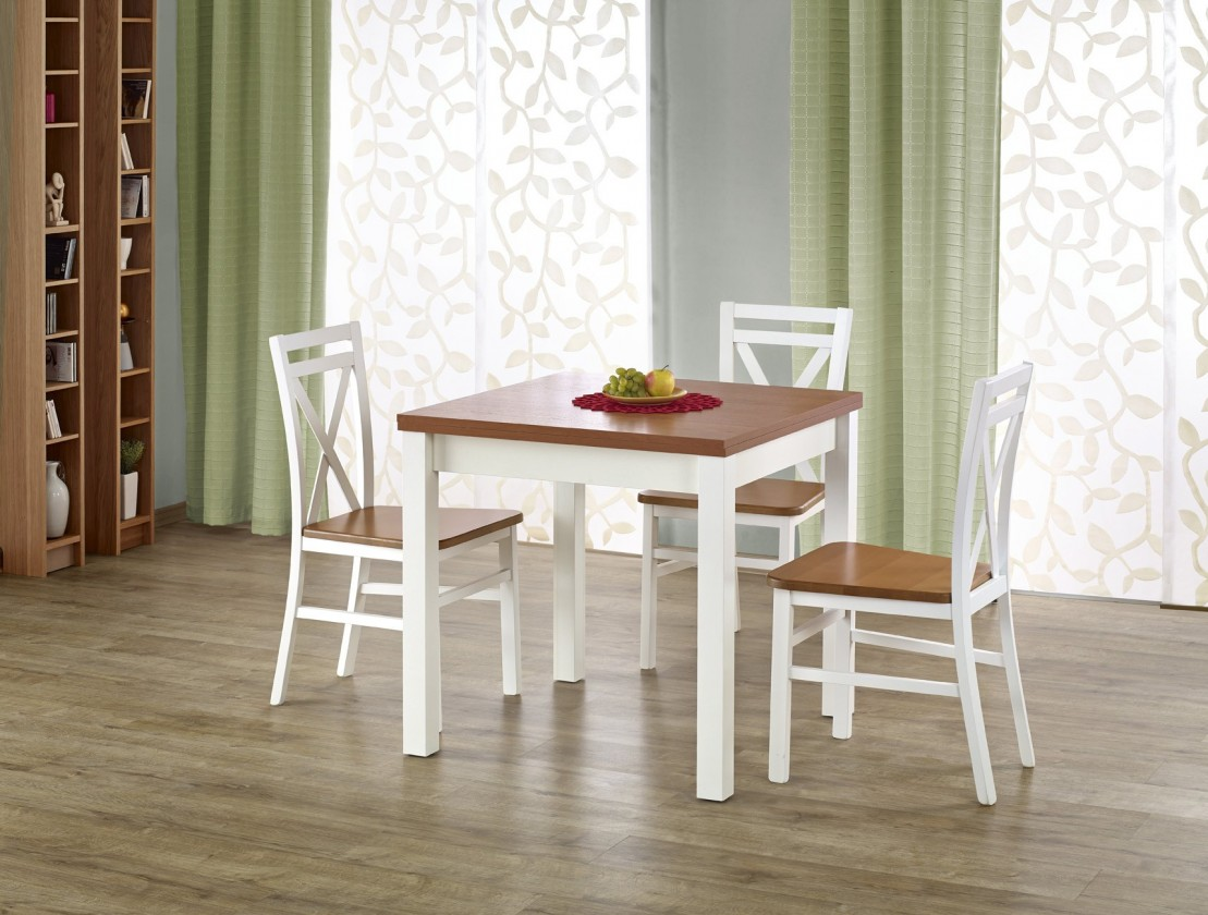 Kuchyně, jídelny ZLEVNĚNO Gracjan - Jídelní stůl 80-160x80 cm (olše, bílá)