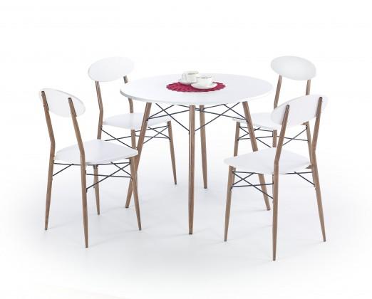 Kuchyně, jídelny ZLEVNĚNO Record - Stůl + 4 židle, kulatý (bílá, hnědá)