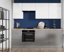 Kuchyně Jodie 220 cm (bílá, šedá, vysoký lesk)