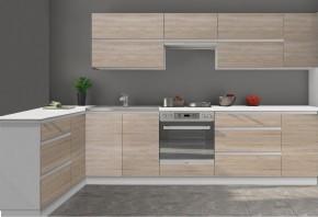 Kuchyně Line - 260 x 180 cm (dub sonoma/bílá)