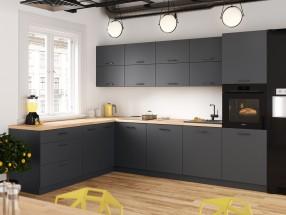 Kuchyně Lisa levý roh - 300x220 cm (šedá)