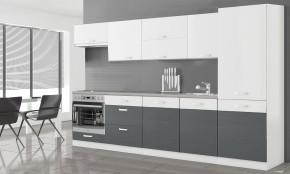 Kuchyně Manhattan - 300 cm (bílá/šedá)