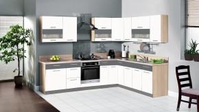 Kuchyně Marina - 285x210 cm (bílá vysoký lesk/grafit)