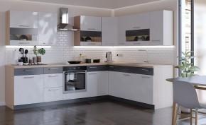 Kuchyně Marina levý roh 285x210 cm (bílá vysoký lesk/grafit)