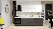 Kuchyně Nina - 260 cm (bílá vysoký lesk/šedá) - II. jakost