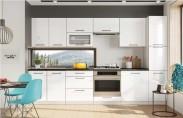 Kuchyně Roxy - 300 cm (bílá vysoký lesk/černá)