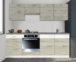 Kuchyně Santis - 240 cm (figaro/bílá/travertin tmavý)