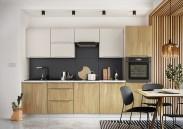 Kuchyně Zoya 300 cm (šedá/dřevo)
