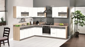Kuchyňská linka Marina - pravá 285x210 (bílý lesk/grafit mat)
