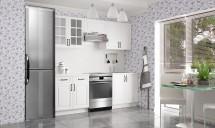 Kuchyňská linka Michelle - 160/220cm (bílá/ bílá/ černá úchytka)