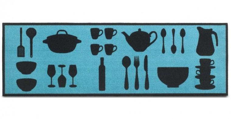 Kuchyňská předložka Dishes tyrkys (modrá)