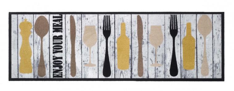Kuchyňská předložka wooden slats (hnědá, černá, béžová, žlutá)