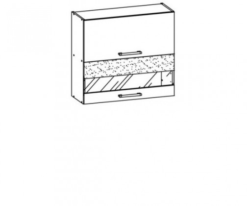 Kuchyňská skříň Marina 80 (rijeka světlá/bordo brokát lesk,jasmín lesk)